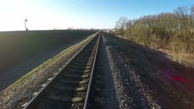 Aerial survey along the railway — Stock Video