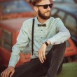Portrait of a young handsome stylish man, wearing shirt and bow- — Stock Photo #79172244