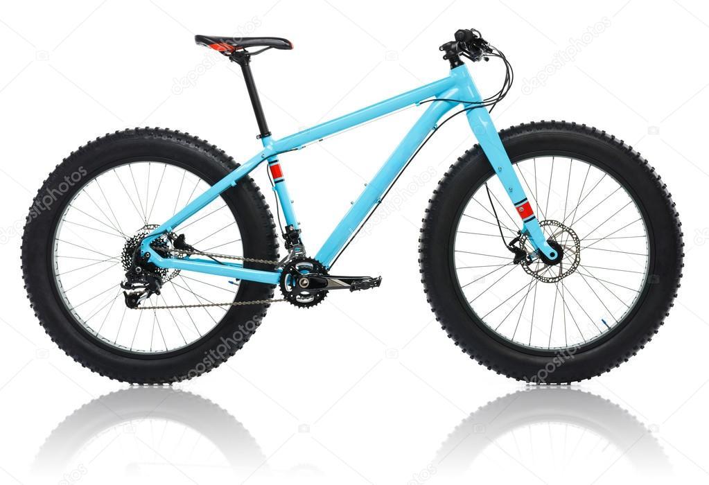 neues blaues fahrrad mit dicken reifen f r schnee fahren