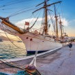 Old sailing ship in sunset light — Stock Photo #52409307