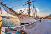 Old sailing ship in sunset light — Stock Photo