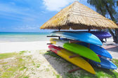 Canoe Shelf on beach — Stock Photo