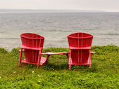 Pair of chairs at Trout River Pond — Stock Photo