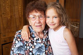 Elderly woman with great-grandchild — Stockfoto
