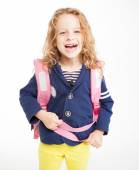 Little girl with schoolbag — Stock Photo