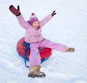 Child sledding in winter hill — Foto de Stock