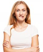 Guilty, frightened woman — Stock Photo