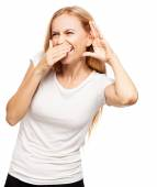 Laughing woman eavesdropping — Stock Photo
