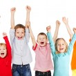 Happiness group children with their hands up — Foto Stock #63813965