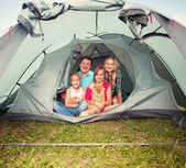 Family in a tent — Stock Photo
