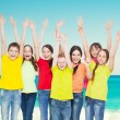 Group children at sea — Stock Photo #76737829