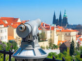 Tourist telescope. Prague, Czech Republic  — Stock Photo