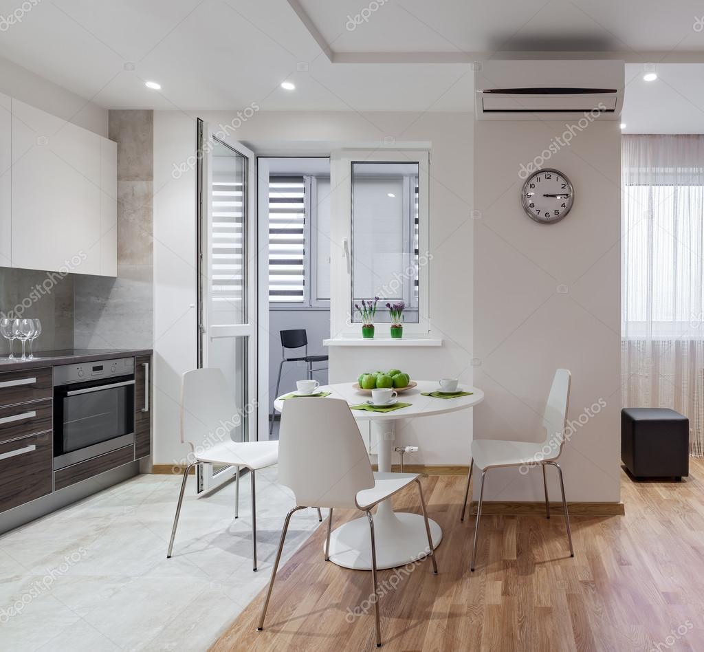 Scandinavische stijl met keuken en woonkamer u2014 Stockbeeld #111725144 ...