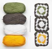 Knitting pattern, uncinetto e colori filati — Foto Stock