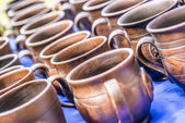 Traditional clay pots of manual work — Stock Photo