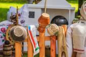 Pots on fence — Stock Photo