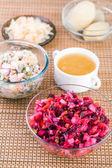 Two vegetable salad vinaigrette, olivier bowl — Stock Photo