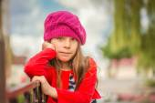 Little girl in red beret — Stock Photo