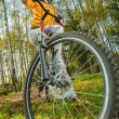 Beautiful girl riding bicycle — Stock Photo #58082741