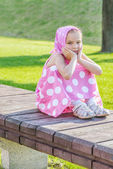 Happy girl-preschooler — Stock Photo