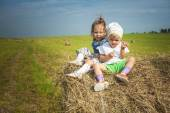 Two little sisters on haystack. — Stock Photo