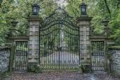 Iron gates at castle hrad Bouzov — Stock Photo