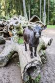 Black goat climbed on log — Stock Photo