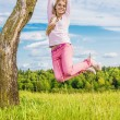 Girl is turned round birch — Stock Photo #61649645
