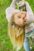 Girl is turned round birch — Stock Photo