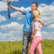 Young man and girl are photographed — Stock Photo #64039209