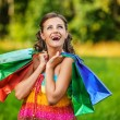 Portrait pretty young woman shopping bags — Stock Photo #64251493