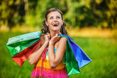 Portrait pretty young woman shopping bags — Stock Photo