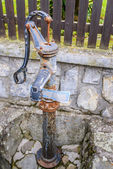 Red and white standpipe — Stock Photo