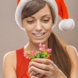 Smiling woman in Santa Claus clothes with flower — Stock Photo #67367663