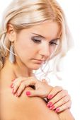 Girl with bared shoulders — Stock Photo