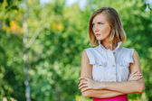 Portrait of young reflective woman — Stock Photo