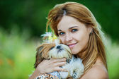 Woman with dog — Stock Photo