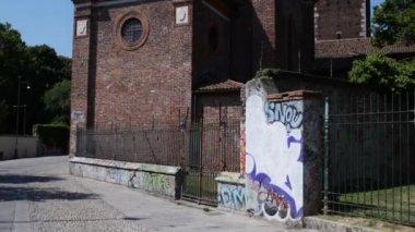Basilica of Sant Eustorgio is a church in Milan — Stock Video