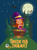 Halloween illustration with witch and crafting pot — Stock Vector