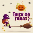 Halloween illustration with witch on broom — Stock Vector #54830657
