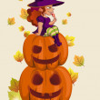 Halloween illustration with witch on pumpkin lantern — Stock Vector #54830695