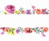 Akvarel květinový rámeček — Stock vektor