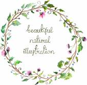 Watercolor floral frame for wedding invitation design — Stock Vector