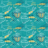 Doodle background with coffee mill, flowers and birds, seamless  — Stock Photo