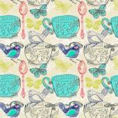 Tea time illustration with flowers and bird, seamless pattern — Stock Photo