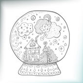 Snowglobe with decorated xmas town — Stock Vector
