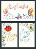 Watercolor floral card collection — Stock Vector