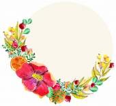 Marco floral acuarela — Vector de stock