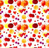Watercolor colorful blot and heart, seamless pattern — Stock Photo