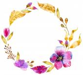 Watercolor floral frame — Stock Photo